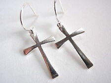 Basic Cross Earrings 925 Sterling Silver Dangle Corona Sun Jewelry church pray