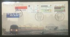 Singapore cover -1988 MRT Train Inauguration stamps FDC to Taiwan (2 pic)