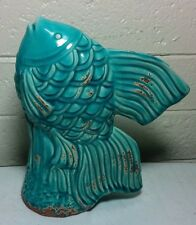 Art Pottery Figurine statue COY FISH Teal Turquoise w rustic accent stone