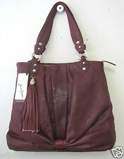 Junior Drake *$398* Leather Jean Tote JR920APL Wine color NWT