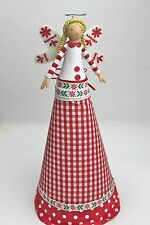 GISELA GRAHAM CHRISTMAS NORDIC SCANDI GINGHAM FAIRY TREE TOPPER ANGEL LARGE