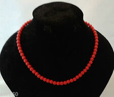 necklace with red plastic beads and metal fastening 16 inch new
