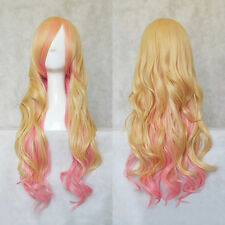 Macross F Sheryl Nome 80CM Long Blond/Pink Wave Cosplay Hair Wig N031