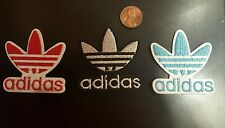 [3] ADIDAS Logo PATCH lot embroidered iron on Patches Red,wht & blu Sparkle 2x2""