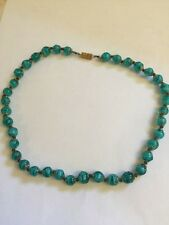 Aqua Blue Murano Venetian Beaded Glass 18 in Necklace NEW