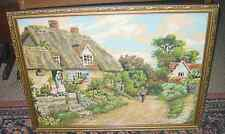 Vintage Tapestry Gilt Framed woolwork Picture English country 19x25.5''/49x65cm