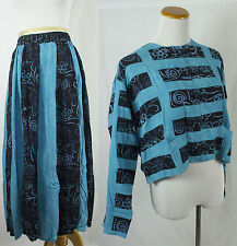 Vintage Batik Rayon Blue & Black Top with Matching Skirt!! Size L