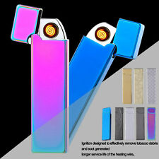 USB Ultra-thin Electronic Arc Lighter Recharge Windproof Metal Shell Gift New