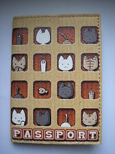 PASSPORT Cover Case - I LOVE CATS - Travel Wallet  Faux leather  NEW