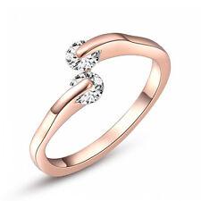 Fashion Damen Rose Gold überzog Kristallbrautschmucksache Ring-Verlobungs