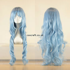 80cm long wavy curly cosplay wig in baby soft blue, UK seller, Jeri style