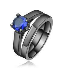 2Pcs Women's Size 6 Nobby Blue Sapphire 18K Black Gold Filled Wedding Ring Sets