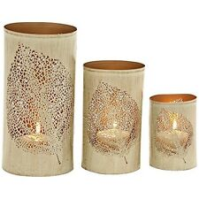 Rustic Iron Latticed Leaf 3-Piece Pillar Candle Holder Set NEW