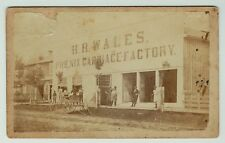 RARE  CDV Photo - Phoenix Carriage Factory 1860s - Outdoor New Albany Indiana IN