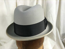 Vintage Wormser Midas Fedora Hat Royal Luxury Light Gray Color Wide Ribbon  Sz 7