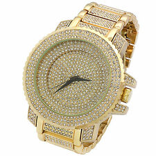 Mens CZ Fully Iced out Over Size Gold Tone Metal Gold Face Hip Hop Wrist Watch