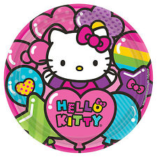 "8 Hello Kitty Rainbow Birthday Party Disposable 9"" Paper Lunch Plates"