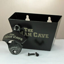 Black THE MAN CAVE Combo Starr X Wall Mount Bottle Opener With Metal Cap Catcher