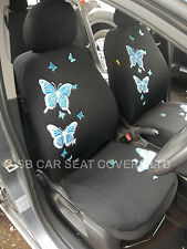 FORD FIESTA / KA CAR SEAT COVERS - PASTEL BLUE 3D BUTTERFLY FULL SET