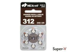 Hearing Aid Batteries Size 312 by NEXcell (6 Batteries) PR41, 312AE, 312A