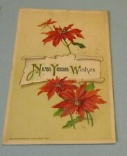 1912 John Winsch New Year Wishes Embossed Postcard Poinsettia Flowers Vintage