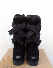 UGG BLACK EVERLEIGH DOUBLE BOW SUEDE/ SHEEPSKIN BOOTS,  WOMENS US 9/ EUR 40 ~NIB