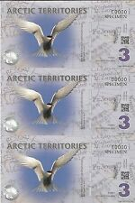 Arctic Territories 3 Polar Dollars 2011 UNC SPECIMEN Banknote Uncut Sheet of 3