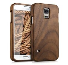 SAMSUNG GALAXY S5 WALNUT WOOD CASE *GENUINE REAL WOOD COVER* & FREE SCREEN GUARD