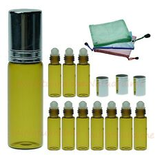 10 x 5ml Amber Roll - On glass bottles essential oil Aromatherapy