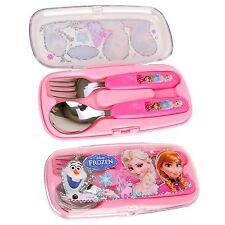 Disney FROZEN Girls Kitchen Utensils Cutlery Stainless Flatware Spoon Fork Case
