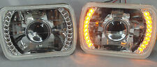86-95 JEEP WRANGLER YJ  GLASS HEAD LIGHTS PROJECTOR AMBER LED HEADLIGHTS H4