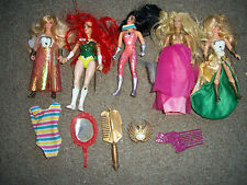 LOT OF 5 VTG 1984-85 SHE-RA PRINCESS OF POWER ACTION FIGURES DOLLS +ACCESSORIES