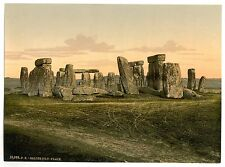 2 Photos Historic Stonehenge Salisbury Vintage Old Picture Prints Pictures NEW