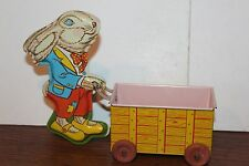 VERY NICE VINTAGE 1950's TIN OHIO ART   EASTER RABBIT and CART