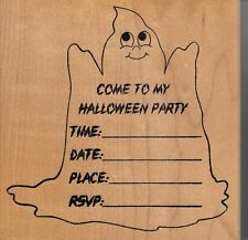 "halloween invite stamps happen  Wood Mounted Rubber Stamp 4x4""  Free Shipping"