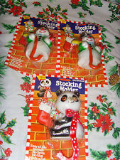 Lot of 3 vintage plastic Christmas Stocking holders Snowman and Panda Bear NOS