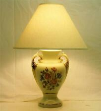 Vtg FRENCH PROVINCIAL LIGHT GREEN APPLE GLAZE & GOLD ACCENT CERAMIC TABLE LAMP