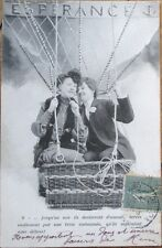 1905 French Fantasy Aviation Postcard: Couple in Hot Air Balloon - 1