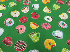 Green, Tasty Doughnut & Coffee Printed Polycotton Fabric