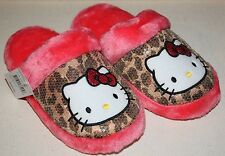 ♡ NWT Hello Kitty Leopard Sequin Fluffy Slip on Slippers w/ Memory Foam 5/6