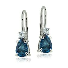 Sterling Silver 1.1ct London Blue & White Topaz Teardrop Leverback Earrings