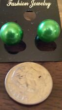 New 12mm Bright Green Bead Pearl Stainless Steel Stud Post Earrings Ships Today