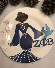 Zeta Phi Beta Hand painted Plate Sorority,  Black Art PERSONALIZED