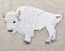 Iron On Embroidered Applique Patch White Buffalo American Bison