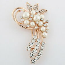 New Xmas Gold Colour Flower BROOCH Pin Wedding Crystal Rhinestone Pearls Broach