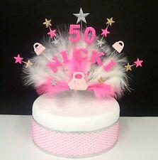 Personalizado bolso de mano y plumas adorno tarta cumpleaños