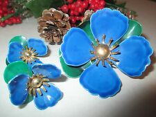 Vintage Sarah Cov Blue Floral Pin With Matching Earrings - 153