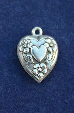 "Vintage Sterling Silver ½"" Puffy Heart Bracelet Charm Heart with Flowers"