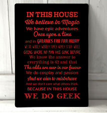 In this house We Do Geek Quote Red text sign A4 metal Sign