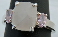 BEAUTIFUL ESTATE STERLING SILVER FACETED PINK QUARTZ AVON RING SIZE 8